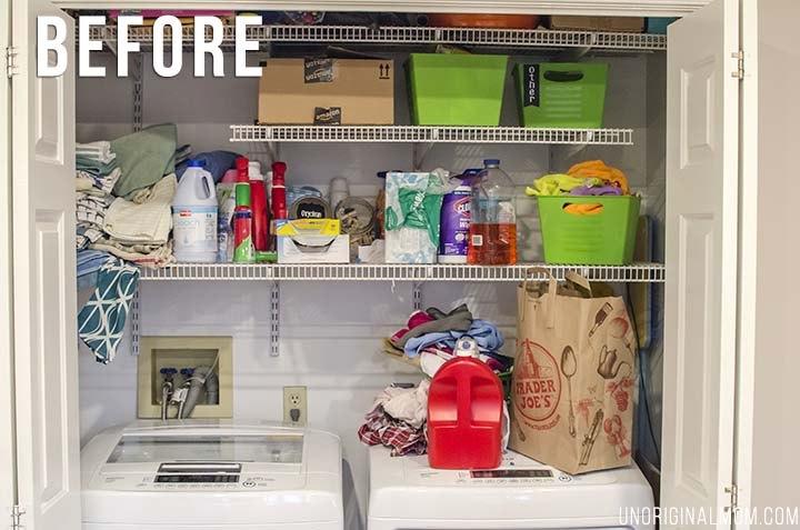 laundry closet organization, closet, organizing