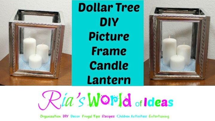 dollar tree diy picture frame candle lantern outdoor living - Dollar Tree Photo Frames
