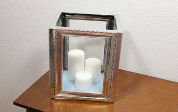dollar tree diy picture frame candle lantern, outdoor living