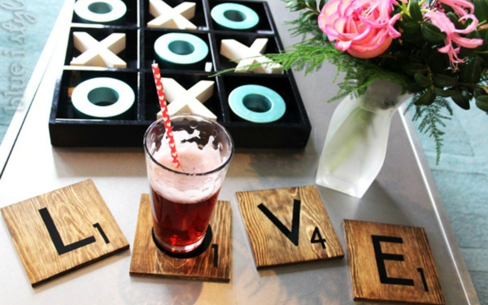 s 20 heartfelt valentine s day gifts for under 20, seasonal holiday decor, valentines day ideas, Stain some wood into fun scrabble coasters
