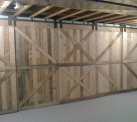 q rolling barn door made from scrap pallet wood doors outdoor living