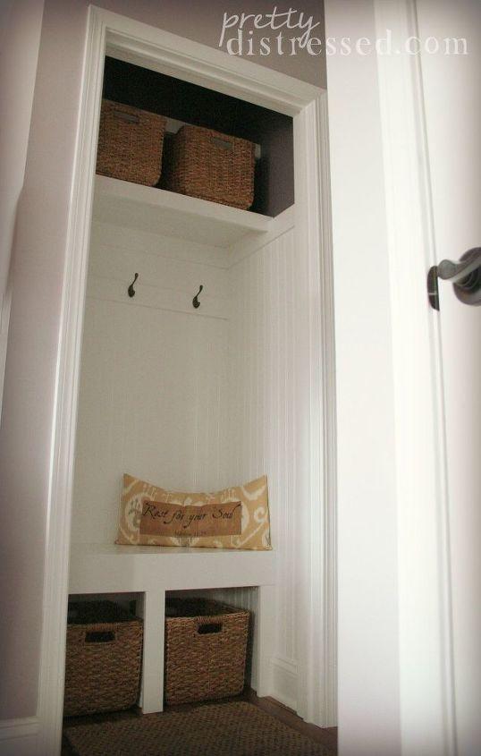 hall closet turned mini mudroom, closet, foyer