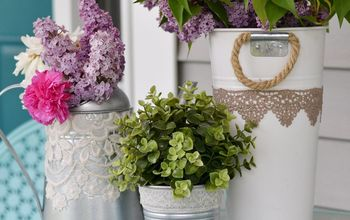 diy lace decoupaged garden containers