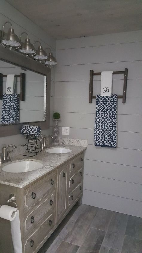 Ugly 1970 S Bathroom Gets A Farmhouse Inspired Makeover