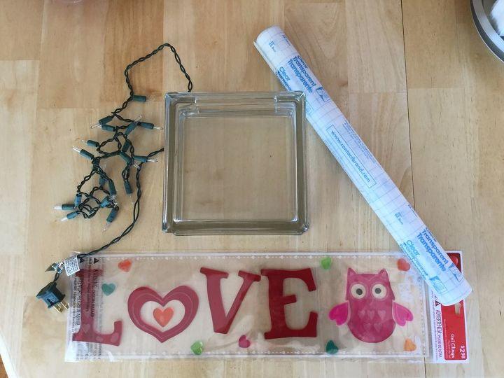 plain glass block to glowing valentine decor, home decor, seasonal holiday decor, valentines day ideas