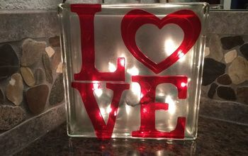 Plain Glass Block to Glowing Valentine Decor