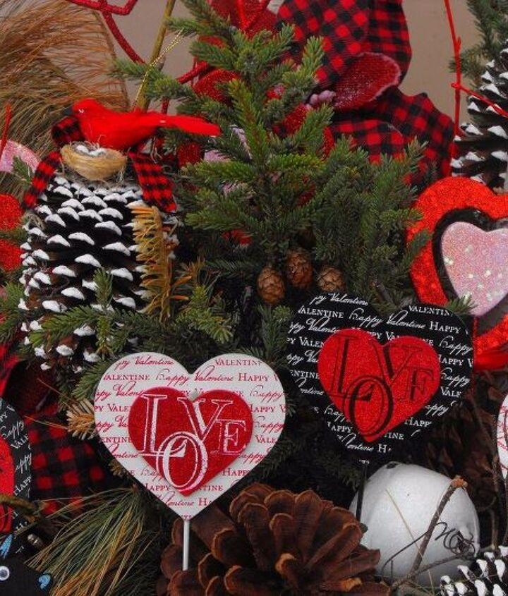 plaid valentines day winter container, seasonal holiday decor, valentines day ideas