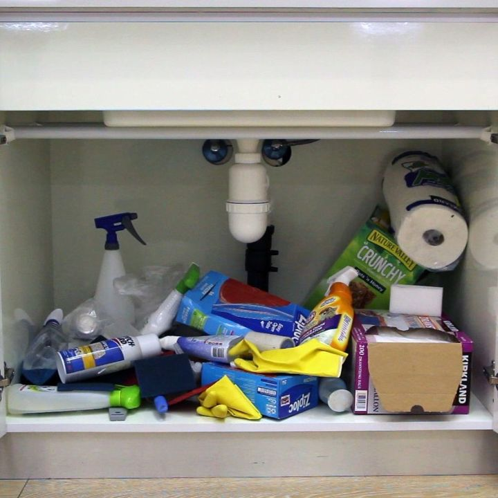 easiest under the sink organizer hack, bathroom ideas, organizing, plumbing
