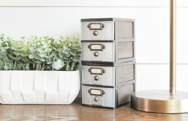 s how to get gorgeous table top decor for under 2, home decor, how to, painted furniture, Stick mini bins together for tabletop storage