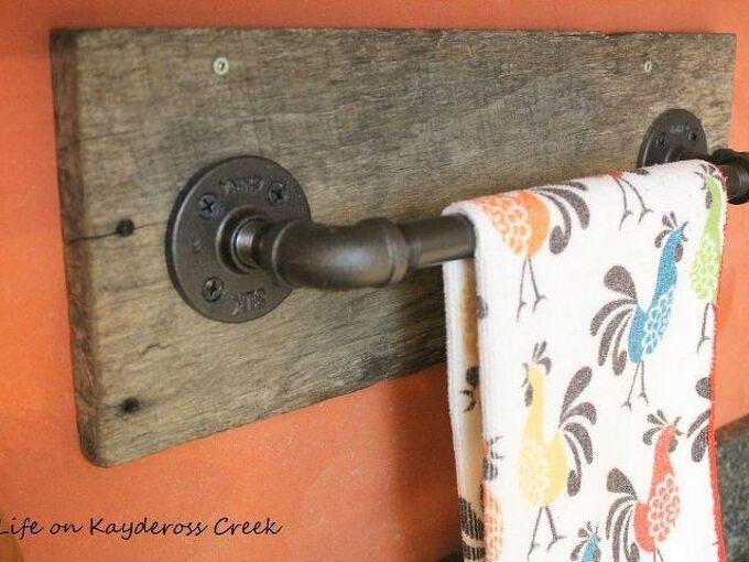 reclaimed wood pipe towel rack, plumbing