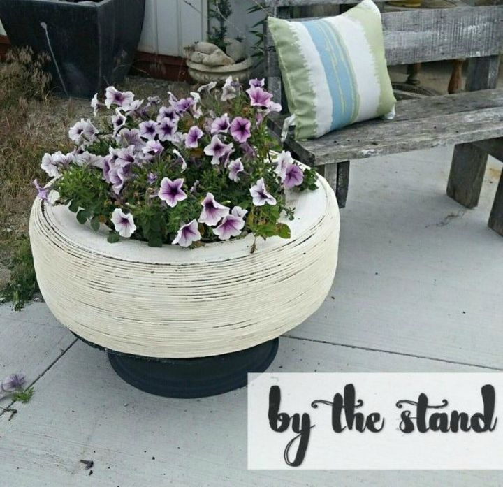 s make your neighbors giggle with these x planter ideas, gardening, Use an old tire as a chic planter