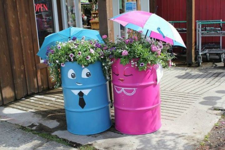 s make your neighbors giggle with these x planter ideas, gardening, Dress up some old oil drums