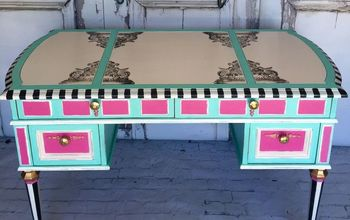 glam desk adding moulds stamps to furniture, painted furniture