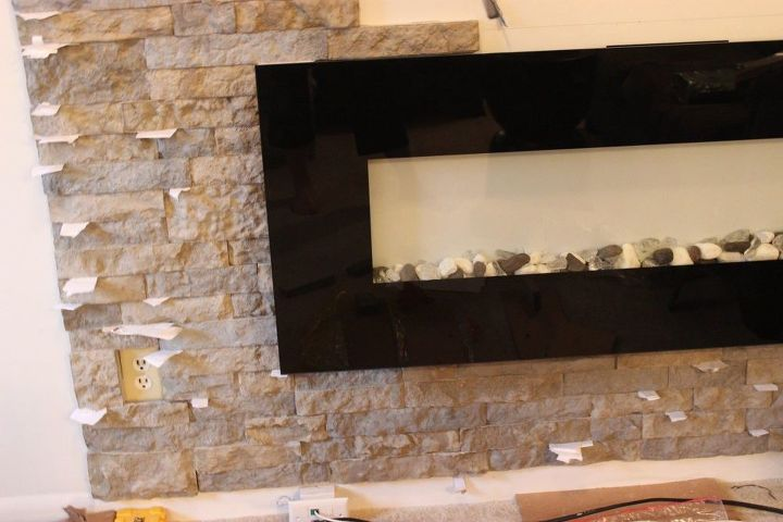 diy airstone veneer stone accent wall, concrete masonry, home decor, wall decor, woodworking projects