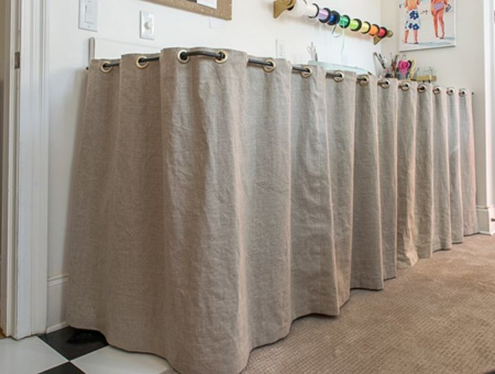 grommeted linen counter skirt, countertops