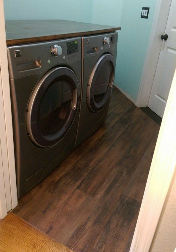 s these 12 ideas will change the way you see vinyl flooring, flooring, Give your laundry room a faux wood floor