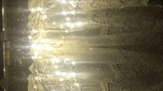 , Fairy LED lights on DIY chandy