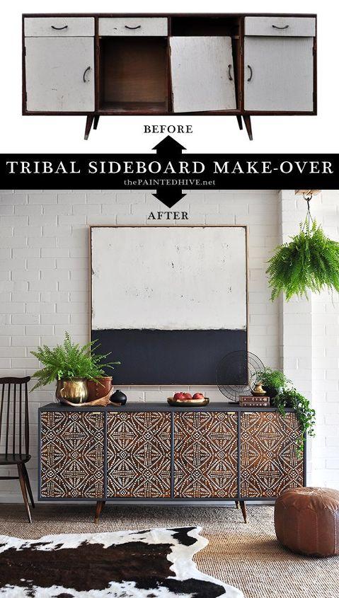 trash to treasure tribal sideboard makeover