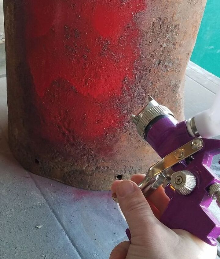 repurposing vintage milk can to a side table, painted furniture