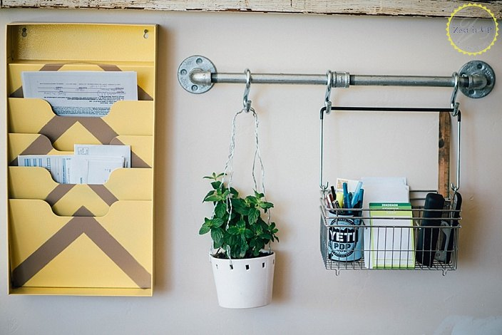 industrial pipe office wall organizer, organizing, plumbing