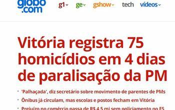 vit ria registra 75 homic dios em 4 dias de paralisa o da pm