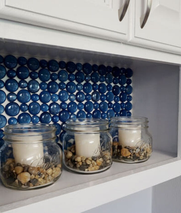 dollar store glass beads become a beautiful backsplash, kitchen backsplash, kitchen design