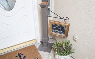 easy chalkboard welcome sign post, chalkboard paint, crafts
