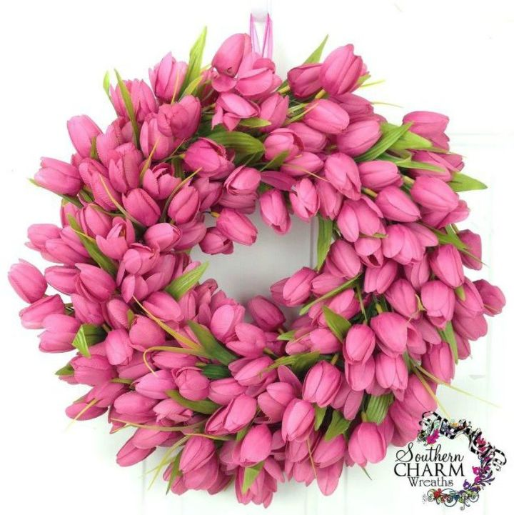 s dress your door for valentine s with these 20 beautiful wreaths, crafts, doors, seasonal holiday decor, valentines day ideas, wreaths, This one made of pink tulips