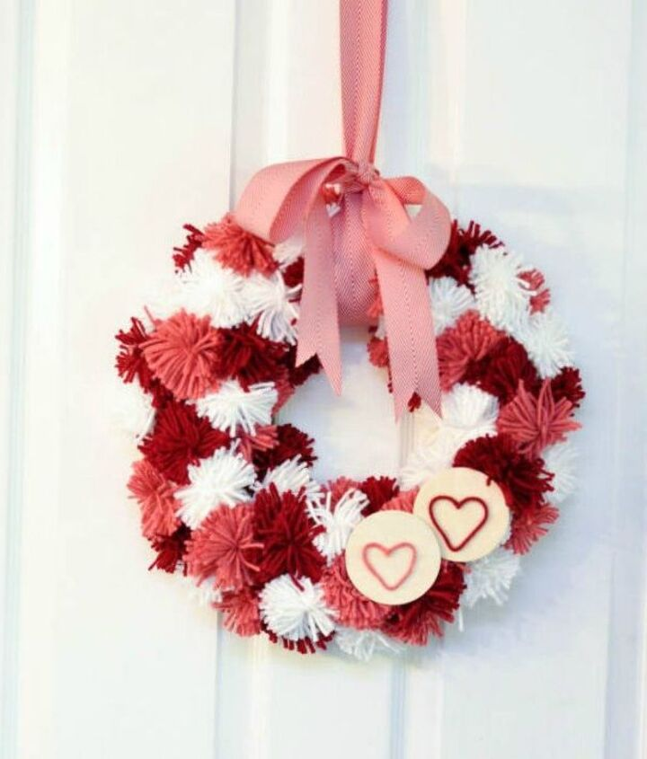 s dress your door for valentine s with these 20 beautiful wreaths, crafts, doors, seasonal holiday decor, valentines day ideas, wreaths, This pink pom pom one