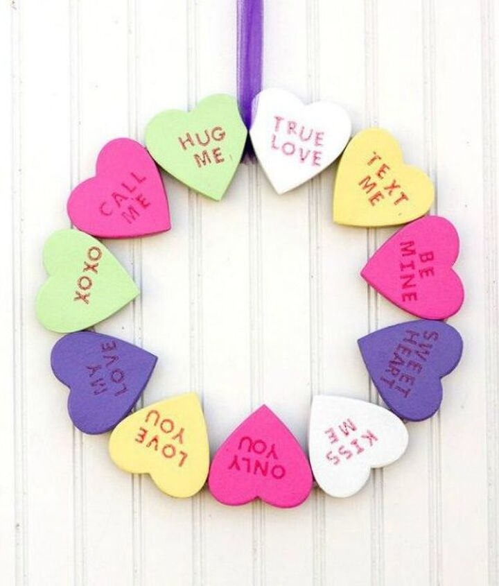 s dress your door for valentine s with these 20 beautiful wreaths, crafts, doors, seasonal holiday decor, valentines day ideas, wreaths, This one made with conversation hearts