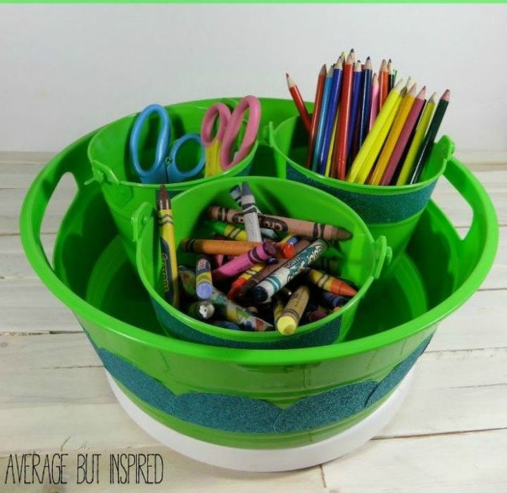 s 15 simple storage solutions from the dollar store, storage ideas, Turn buckets into an art caddy