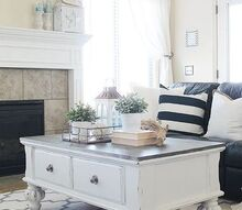 farmhouse style coffee table makeover, painted furniture
