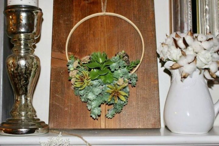 s 15 ultimate ways to use embroidery hoops in your home decor, home decor, Turn it into a faux succulent wreath