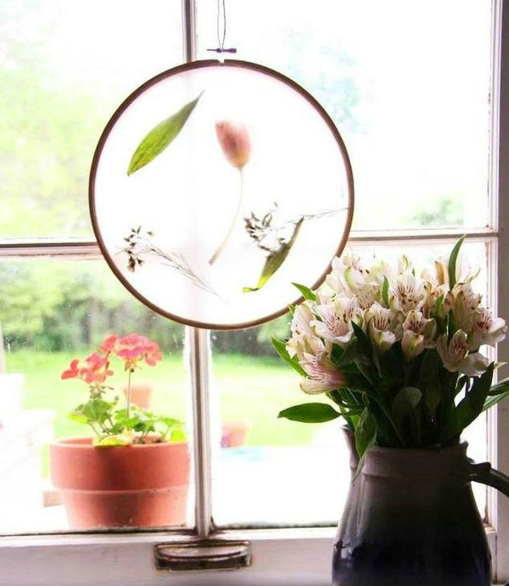 s 15 ultimate ways to use embroidery hoops in your home decor, home decor, Transform it into an elegant sun catcher