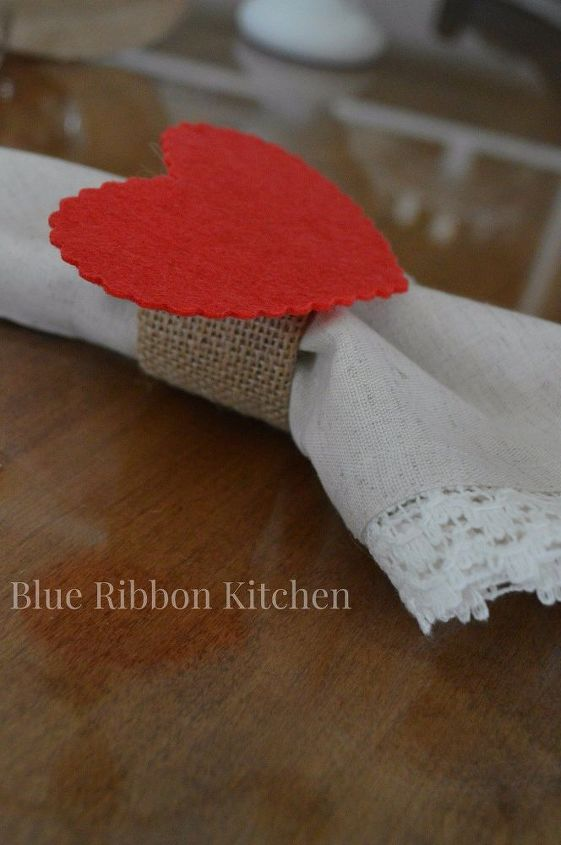 easy burlap valentine napkin rings, crafts, seasonal holiday decor, valentines day ideas