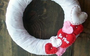 ribon and puffy heart valentines wreath, crafts, wreaths