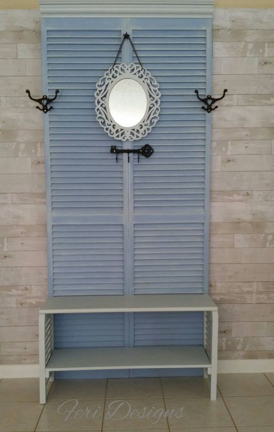 make a hall tree from old shutter doors, curb appeal, doors