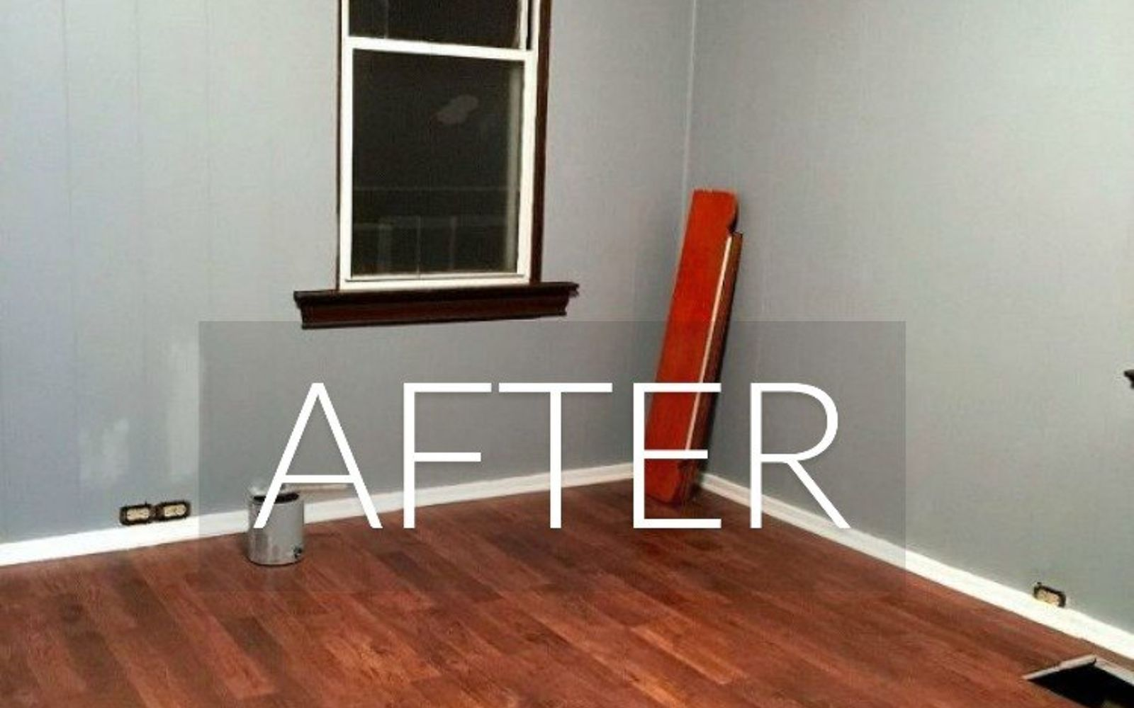 s 7 floor transformations that ll convince you to get rid of your carpet, flooring, reupholster, After Pretty laminate floors and blue walls