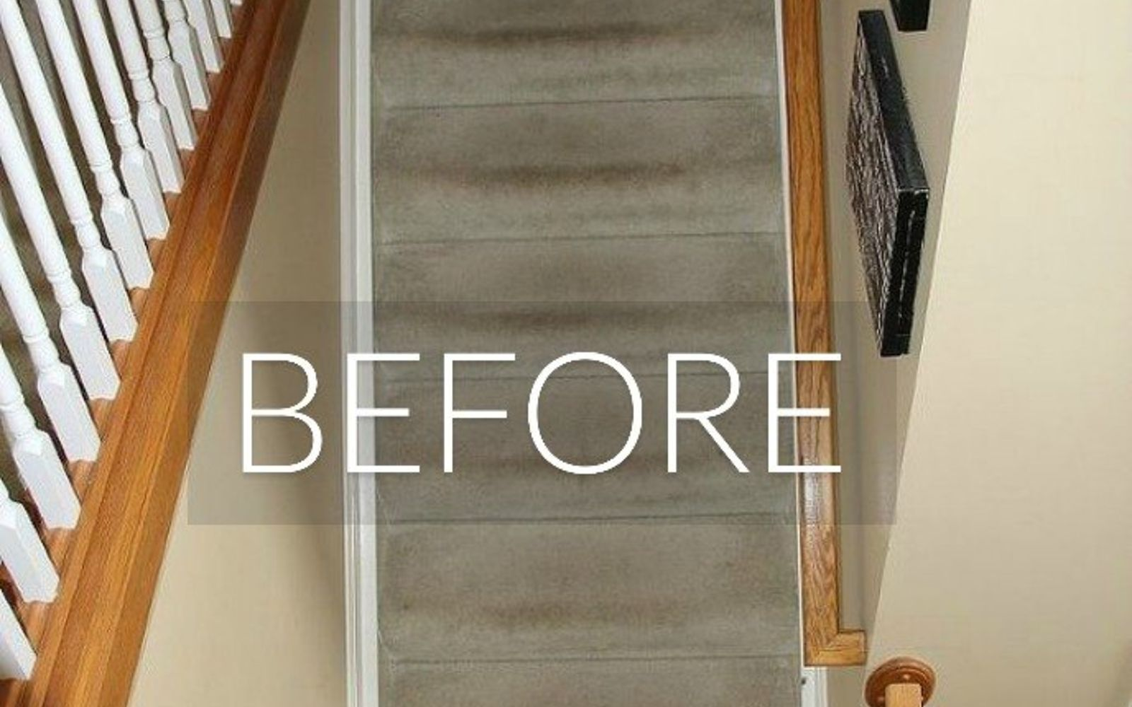 s 7 floor transformations that ll convince you to get rid of your carpet, flooring, reupholster, Before Tracked on stairs