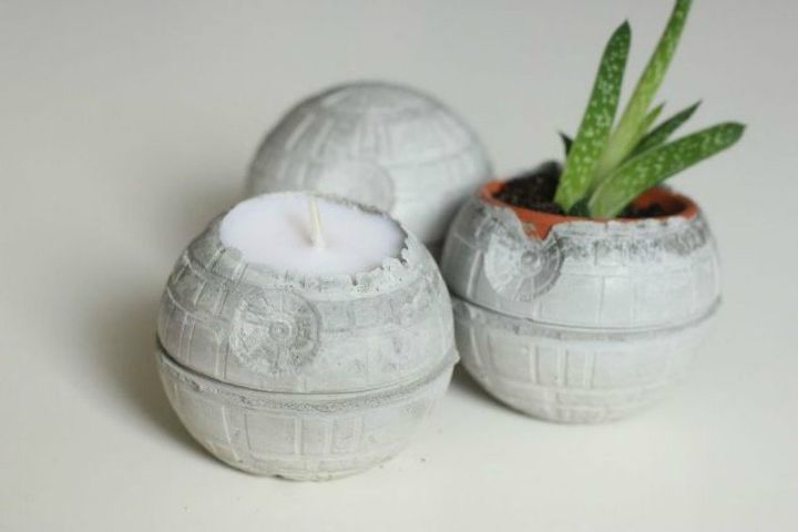 s 15 amazing sci fi decor ideas for the nerd in your family, home decor, Make death star planters out of concrete