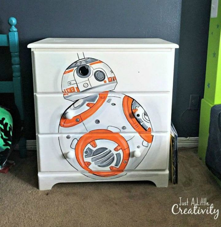 s 15 amazing sci fi decor ideas for the nerd in your family, home decor, Stencil a Star Wars character on a dresser