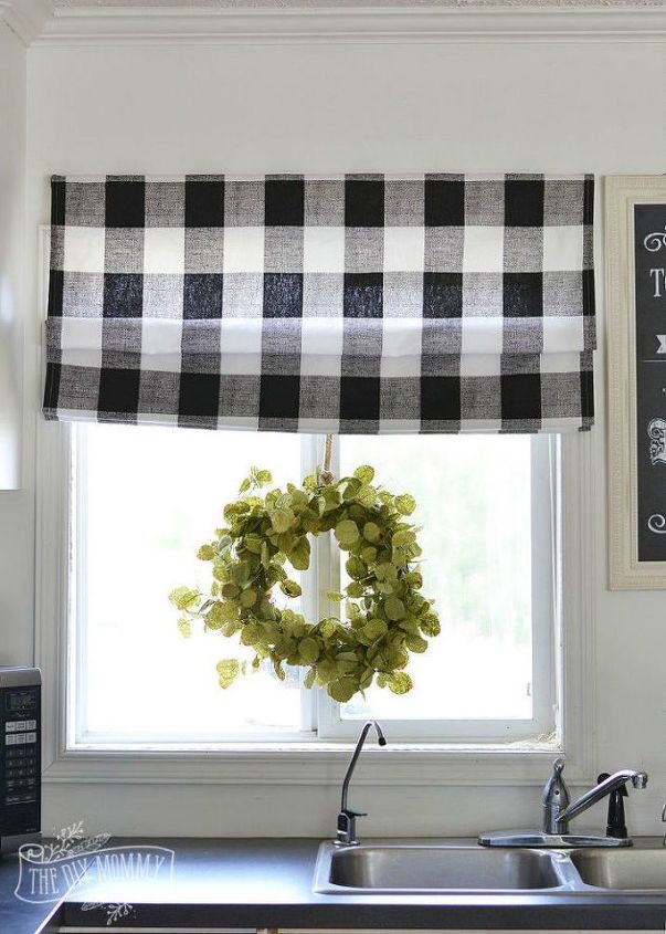 s 11 ways you never thought of using fabric in your kitchen, kitchen design, reupholster, As a perfect plaid roman shade