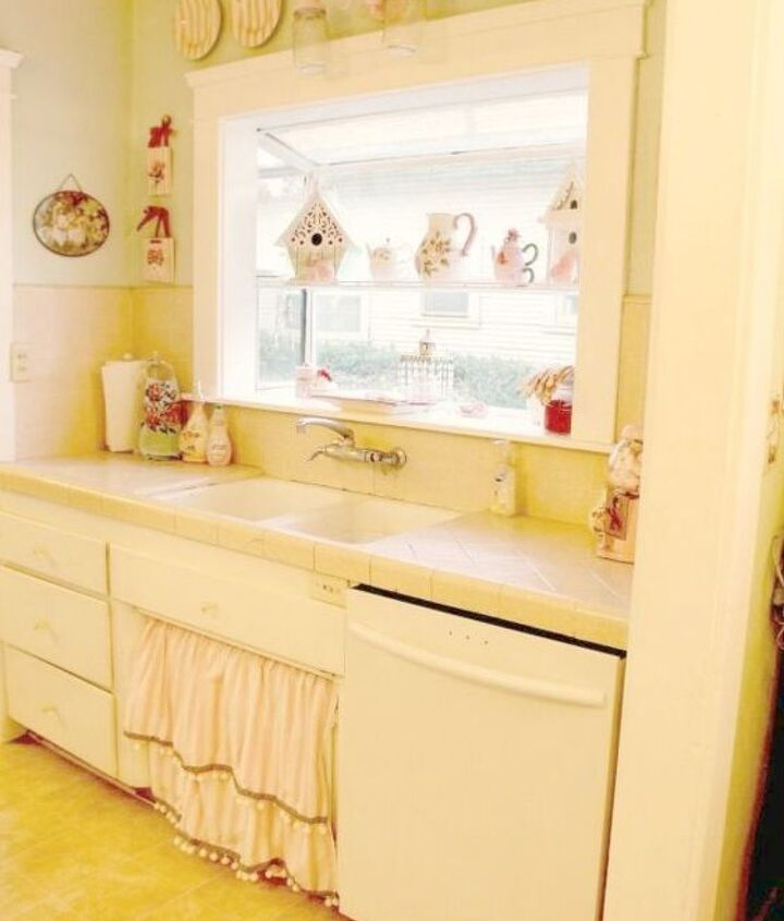 s 11 ways you never thought of using fabric in your kitchen, kitchen design, reupholster, As a skirt for your farmhouse kitchen sink