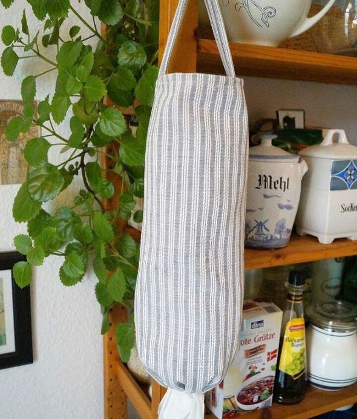 s 11 ways you never thought of using fabric in your kitchen, kitchen design, reupholster, As a hanging dispenser for your plastic bags