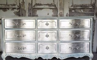 my glamorous metallic silver dresser how to do silver leafing, how to, painted furniture