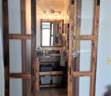 double sliding barn style doors for bathroom, bathroom ideas, doors