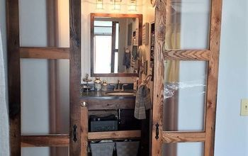 "We Built Double Sliding ""Barn-Style"" Doors for Bathroom!"