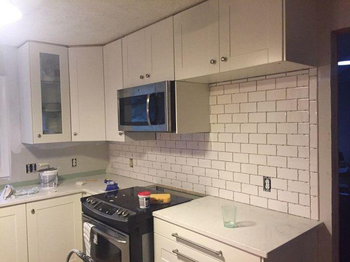 subway tile backsplash step by step tutorial part one, how to, kitchen backsplash, kitchen design