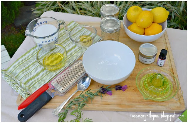 homemade lemon and lavender scrub