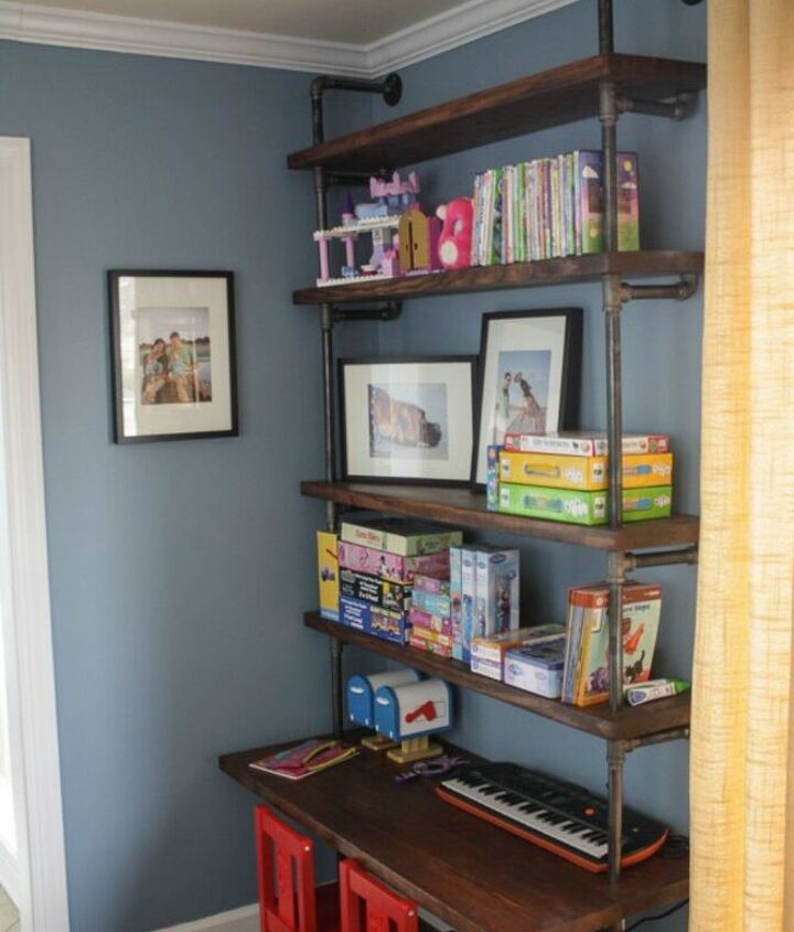 s stop everything these bookshelf redos are ah mazing, shelving ideas, storage ideas, Build an industrial unit with pipes pine